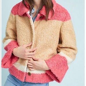 Anthropologie Colorblocked Sherpa Jacket snap